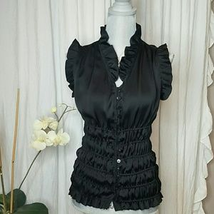Agora Ruched Ruffled Sleeveless  Blouse Size S